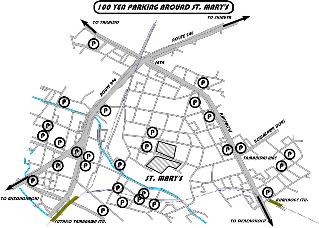 Map of parking sites near St. Mary's