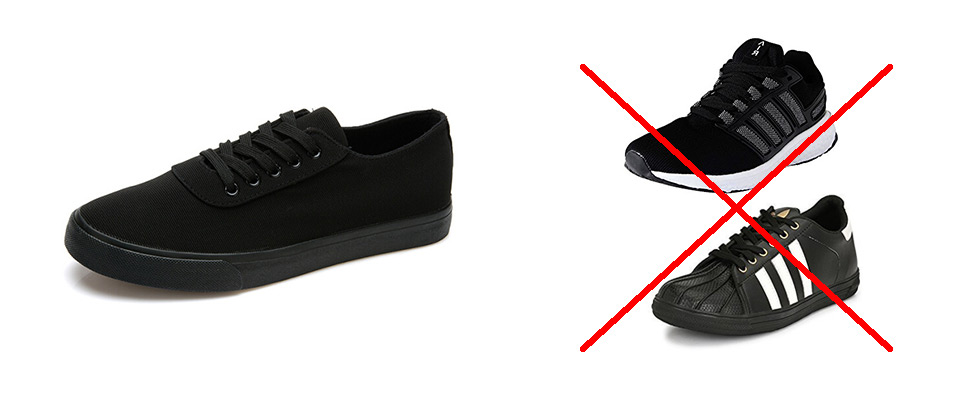 Example of black athletic shoes