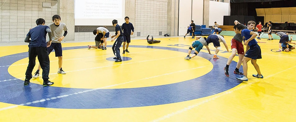 St. Mary's students in wrestling practice