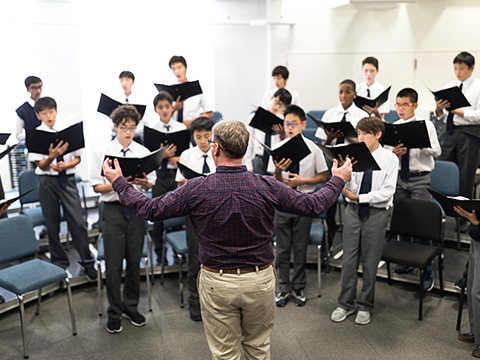 Middle School students in choir practice