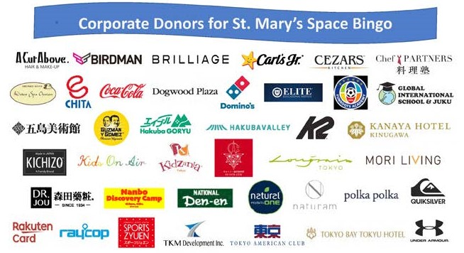 Poster of corporate donors for Bingo